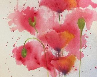Poppies Watercolor Wall Print