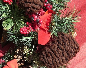 Pine Cone Crocheted Ornaments Trio Brown, Small, Medium, Large
