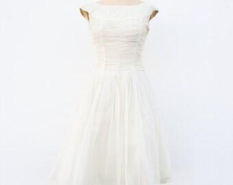 1950s cream ruche chiffon tea dress