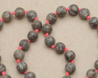 10mm Crinoid Fossil Gemstone Beads  19 inch long strand of Crinoid Fossil