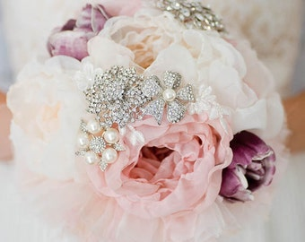 Custom Bridesmaid Fabric Flower and Pearl Brooch Bouquet, Lavender Peony Bridal Bouquet, Silk flower Bouquet Rustic Wedding Vintage Inspired