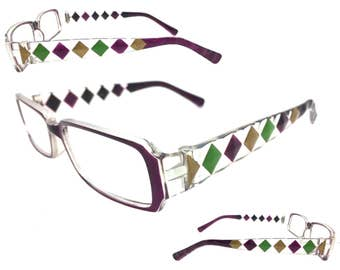 Women's 1.25 Strength Mardi Gras Reading Glasses with Hand Painted Purple, Green, and Gold Diamond Design