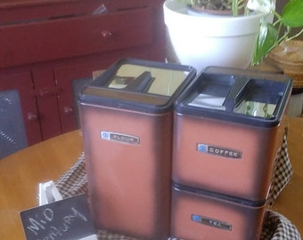 MASTERWARE Chrome Kitchen Canisters, Mid-Century, Bronze-Wood grain Canisters, Flour, Tea, Coffee, Chrome Canisters, Storage & Organization