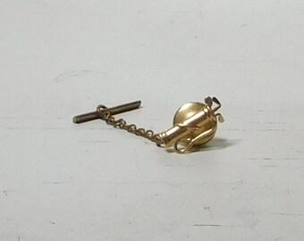 Golfers Tie Tack Golf Bag Vintage Gold Tone