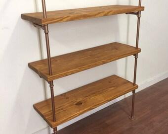 Deep Industrial Shelves - Pipe shelves - Pipe shelving - Industrial Chic Shelf - Copper pipe shelf - pipe shelf - Retail Shelves - Bookshelf