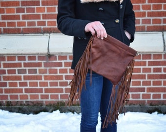 Fringe Leather Clutch with Flex Frame