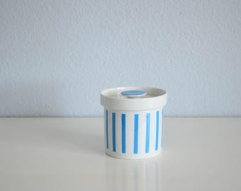 Lagardo Tackett Schmid Porcelain Japan Sugar Bowl White and Blue Stripes