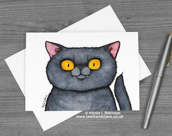 Cat Greeting Card, Cat Note card, Cat Birthday Card, Cat Mother's Day Card, Cat Party Invitation, Card For Cat Lover, British Shorthair Cat
