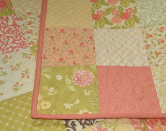 Baby girl quilt, modern baby quilts, soft pastel colors, Mirabella, Moda fabrics,