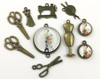 10 sewing charms and glass pendants collection bronze tone 22mm to 41mm #ENSB 053