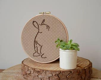"Rabbit Embroidery, Bunny Embroidery Hoop, Rabbit Gift, Rabbit Wall Hanging, Animal Embroidery, Embroidered Wall Hanging (6"" Hoop)"