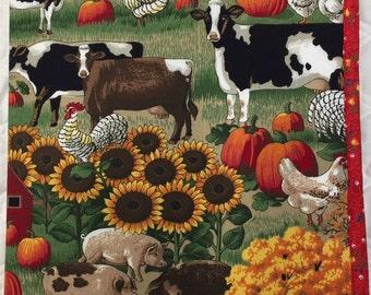 "Sunflowers, Holsteins, pigs, sock monkey  ""I Spy"" Fabric Busy Book"