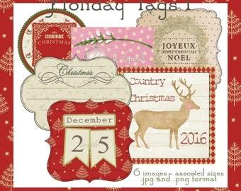 Holiday Tags 1 - Printable Digital Downloadable Images