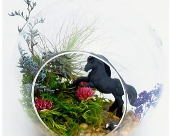 Horse Decor Equestrian Gifts Fantasy Creatures Enchanted Animal Plant Terrarium Unique Christmas Ornaments Decorations Gifts Dad Husband Son