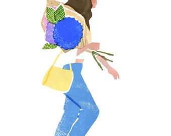 Archival Art Print / Girl With Flowers / Floral Art / Hydrangea / Flower Market / Fashion Art / London / Columbia Road Flower Market