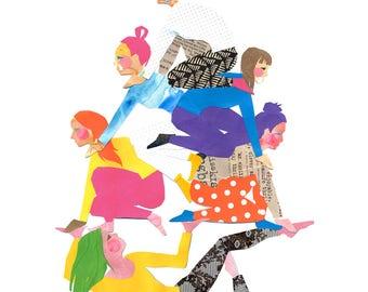 Archival Art Print - Sisterhood, Girls, Pyramid, Feminist, Girl Power, Girl's Room, Women Entrepreneur, Rainbow, Collage, Paper art, Sisters