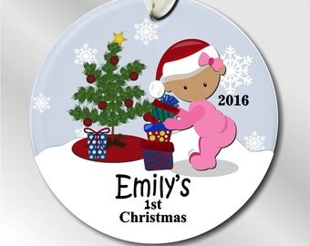 Baby Girl's First Christmas Ornament - Custom Baby's First Christmas - Baby's 1st Christmas or Girl's First Christmas Ornament #208
