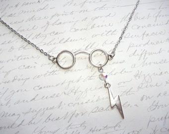 Glasses necklace with lightning bolt