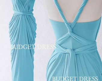2017 NEW STYLE Sky Blue Multiway Bridesmaids Dresses, Infinity Greek Prom Dresses, Bridal Shower Wrap Dresses, Convertible Maxi Dresses