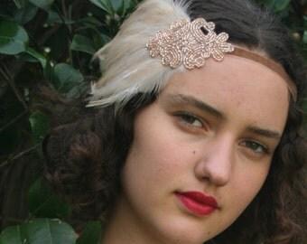 Champagne Headband, Great Gatsby headpiece, 1920s Headband, Beaded Art Deco fascinator, Beige Feather, Black Dress Ivory Flapper Headpiece