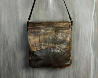 Recycled Leather Bag / Fold Over Shoulder Bag / Cross Body Bag / Eco Bag / Jacket-To-Bag / Upcycled Leather Bag / Patchwork Bag