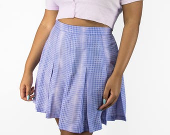 90s Geometric Print Pleated Mini Skirt