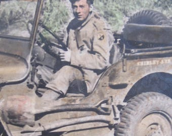 Me & Shirley Ann - 1940's World War II US Army Soldier And His Jeep Hand Colored Snapshot Photo - Free Shipping
