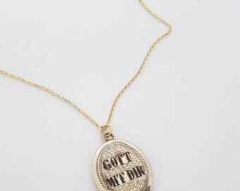 "Antique Victorian Gold Fill and Black Enamel ""Gott Mit Dir"" Locket - Memento Mori, Mourning Jewelry, Mourning"