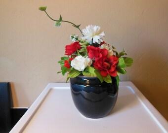 Ceramic Vase- Silk Floral Arrangement-Red Roses-White Roses-Eucalyptus-Gift For Her-Anniversary-Valentine's Day-Teacher-Co-Worker