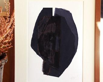 Black Minimalist Art Print, Modern Abstract Collage, Dark Contemporary Art Portrait
