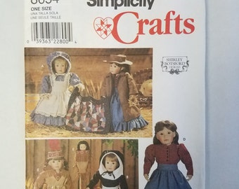 "Simplicity 8654 Pattern 18"" Doll Clothes Shirley Botsford Uncut 1999 Pilgrim"