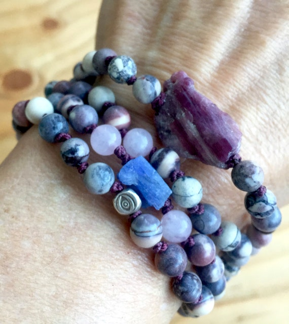 108 Matte Porcelain Jasper Mala Beads Wrist Mala Bracelet Tanzanite Raw Tourmaline Thai Silver Heart Crown Chakra Yoga Jewelry