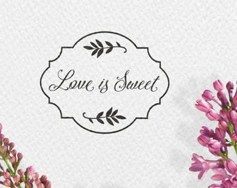 Love is sweet wedding stamps, 50x40mm, frames, leaves, twigs, wedding, stamp, MENUST, restaurant, HSMR1
