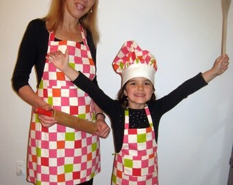 mother/daughter matching apron and childs  matching chef hat