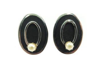Vintage Black Enamel Earrings, Faux Pearl, Clip Ons