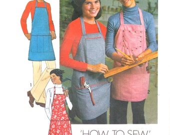 Simplicity 7254 One Size 1970s Vintage Apron Sewing Pattern