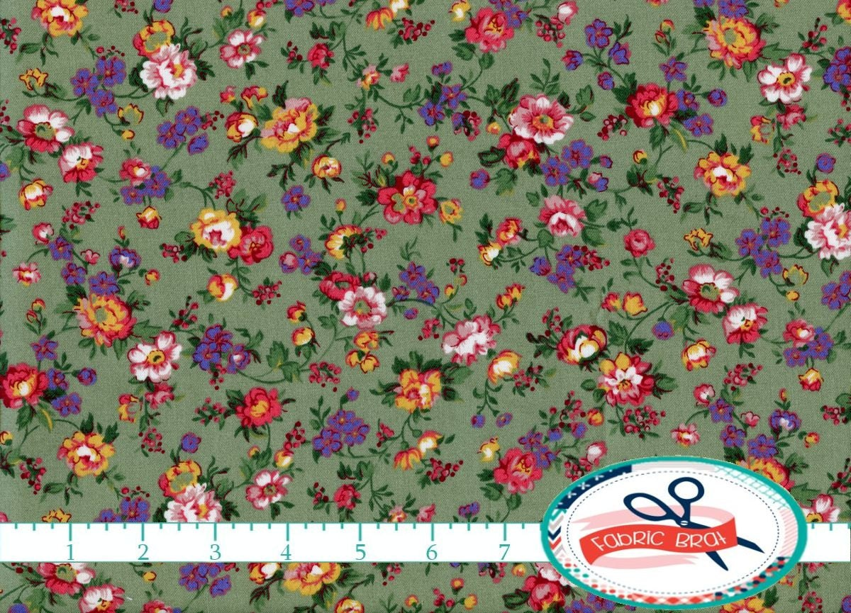 SAGE GREEN ROSE Fabric By The Yard Fat Quarter Vintage Style