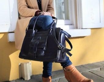 Navy Leather Handbag / Navy Leather Bag / Navy Leather Purse / Leather Messenger Bag /  Leather Bag /  Leather Handbag /  Leather Messenger