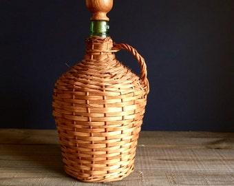 Large Demijohn Bottle /Woven Carboy Bottle, Handwoven Wicker Bottle, Wicker Demijohn Bottle with a Cap, Wicker Wrapped Wine Bottle