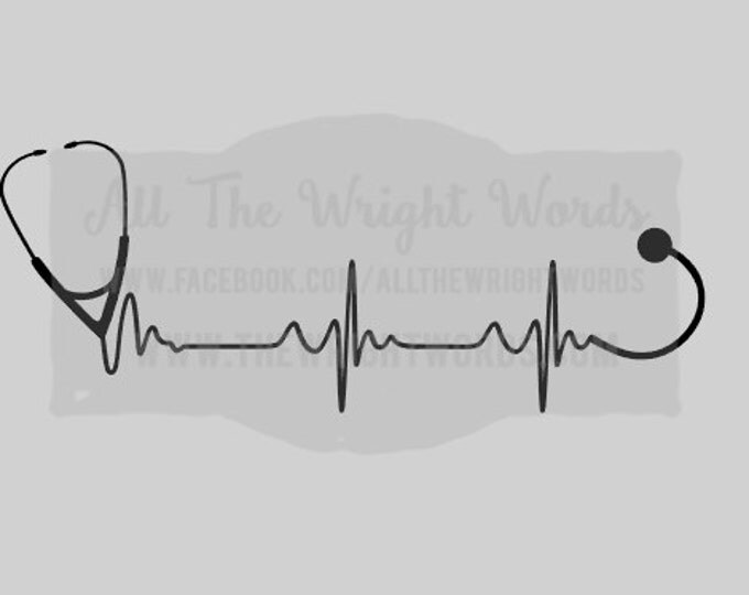"""FREE SHIPPING //  8x3"""" Stethoscope Heartbeat Vinyl Decal - Great For Water Bottles - Custom - Laptop Decal  - Hospital - Nurse - CNA - rn"""