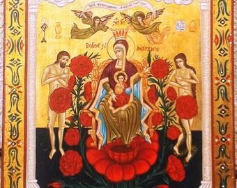 BYZANTINE ART.byzantine.icons.Virgin Mary-rose -religious icons.greek art.made in greece. orthodox icons byzantine icons,luxury wedding gift