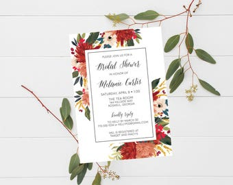 Bridal Shower Invitation Red Floral Wedding Invite