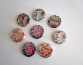 Floral Magnet Set - Floral Magnets - Refrigerator Magnets with Flowers - Shabby Cottage Chic Fridge Magnets - Gift for Mom - Hostess Gift