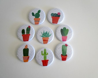 Cactus Magnet Set - Cactus Print Magnets -  Succulent Refrigerator Magnets - Boho Kitchen Fridge Magnets - Housewarming, Bridal Shower Gift