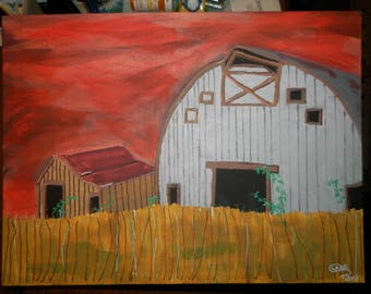 Barn with Red Sky