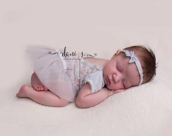 Newborn Set: Newborn Lace Romper & Tutu Skirt; GRAY; Newborn Romper Prop; Newborn Skirt; Baby Girl Outfit Prop; Newborn Photo Prop