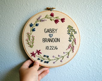 Wedding Embroidery Hoop - Custom - Marriage, Anniversary, Personalized - Bride and Groom - Floral Wreath