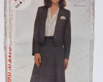 Vintage 1985 McCall's Pattern 9407 Women's Jacket & Skirt Size 6-8-10
