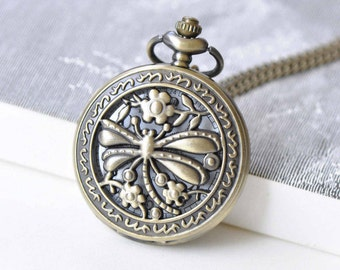 Antique Bronze Round Pocket Watch Pendant 47mm Set of 1 A8806