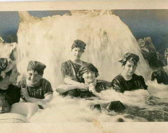 Vintage Photo..Under the Waterfall, 1910's Original Found Photo, Vernacular Photography
